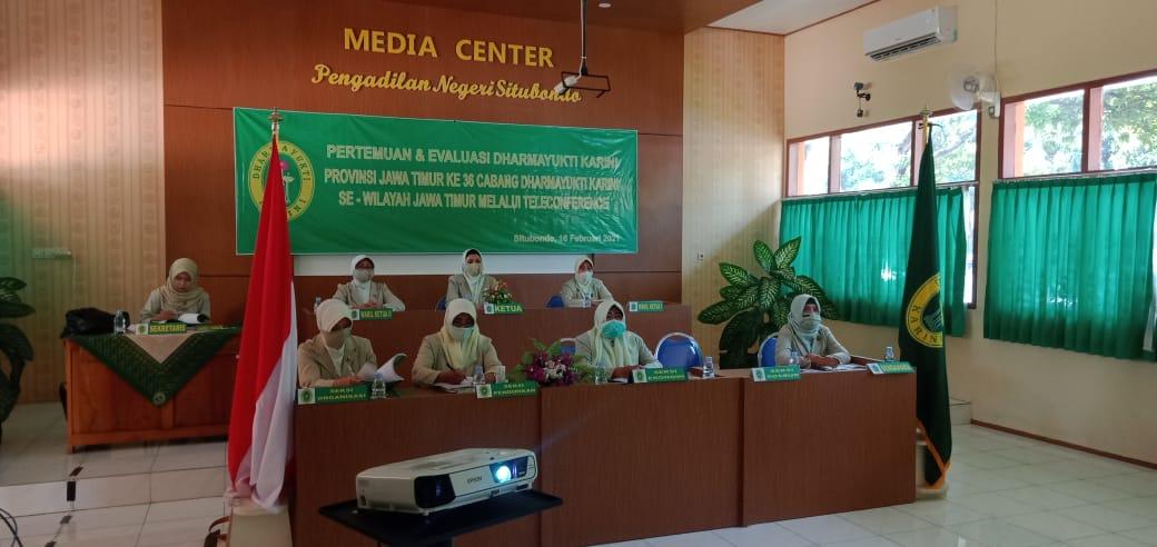 Pertemuan dan Evaluasi Dharma Yukti Karini propinsi Jawa Timur Ke- 36 se Wilayah Jawa Timur Melelau Teleconfrence