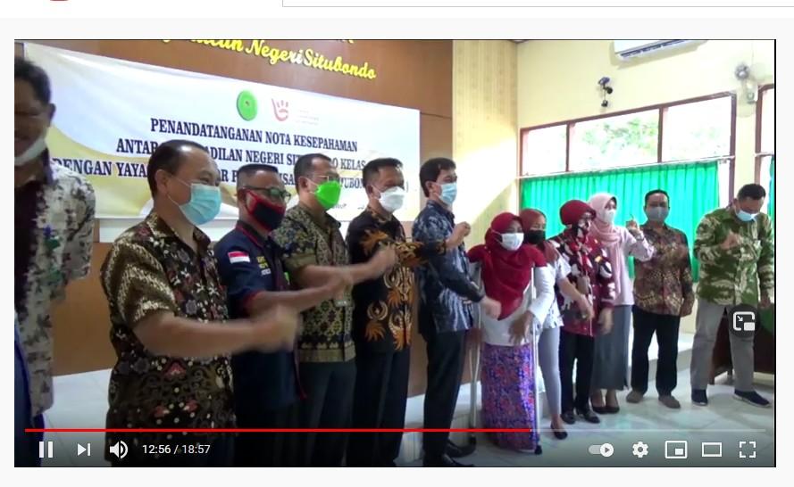 Live Streaming Penandatanganan Nota Kesapahaman antara Pengadilan Negeri Situbondo dan Yayasan Penyandang Disabilitas Situbondo